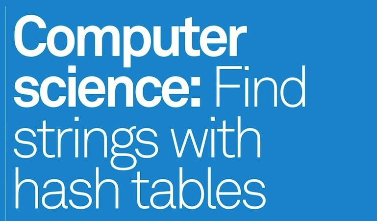 Find strings with hash tables