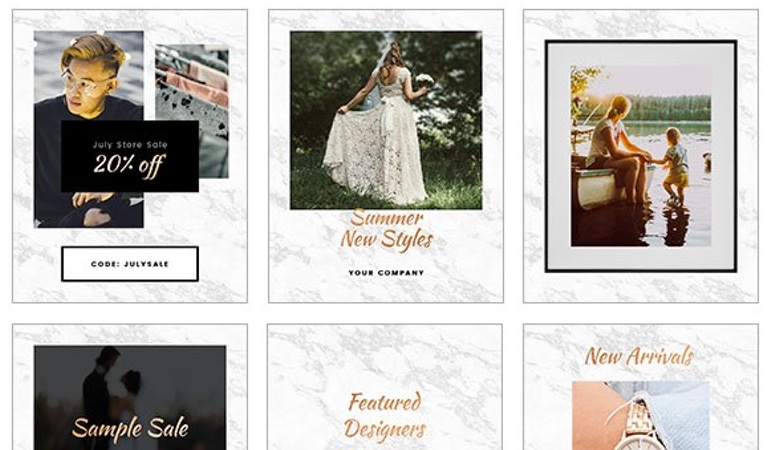 6 animated rose gold Instagram templates