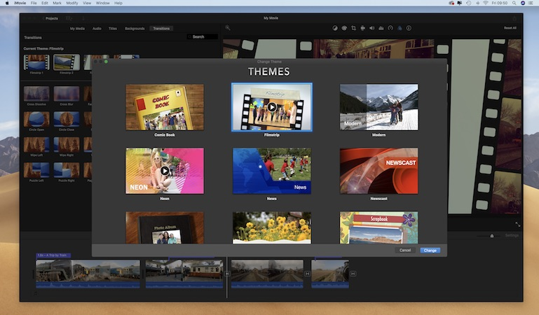 Add themed titles and transitions to your footage in iMovie
