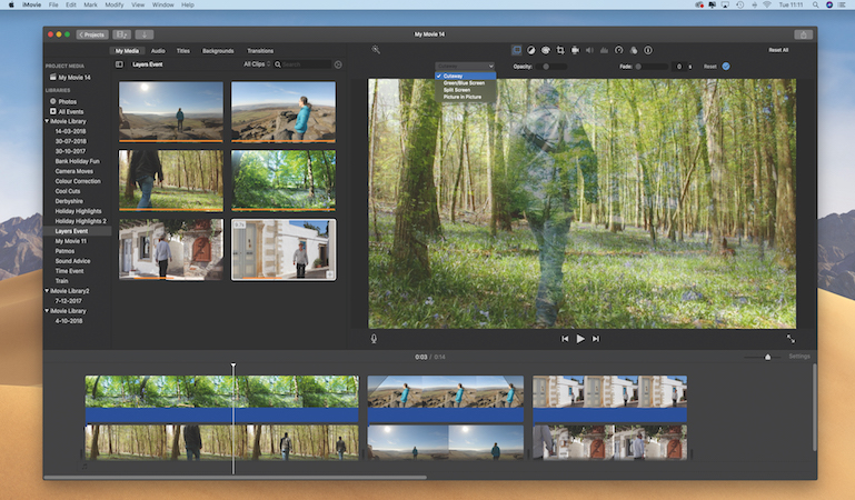 Edit video in layers with iMovie