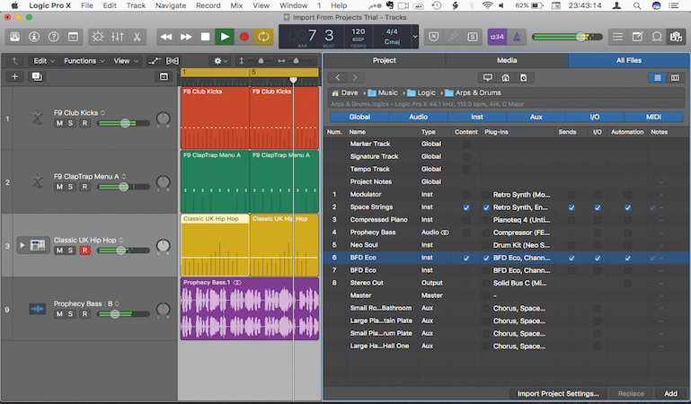 Import tracks easily from other Logic projects