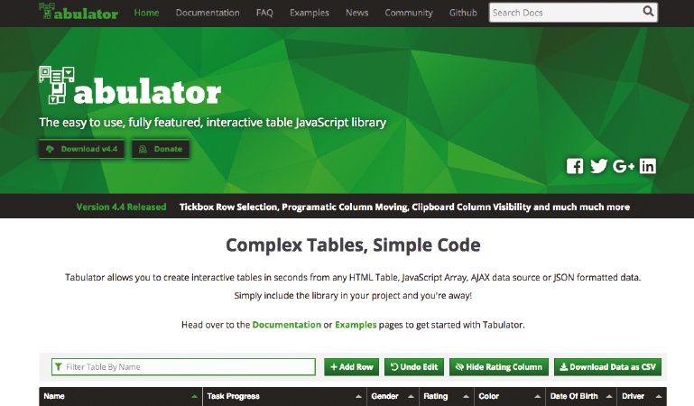 Create interactive tables with Tabulator