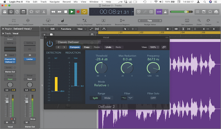 Using Logic's new DeEsser 2 plugin