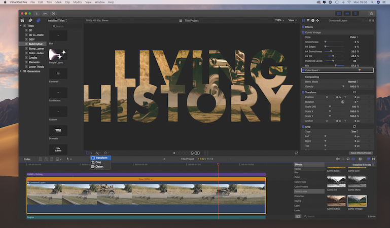 Add artistic effects to text in Final Cut Pro X