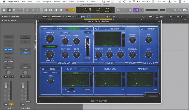 Wavetable synthesis with Retro Synth in Logic