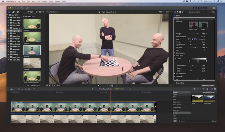 Create the illusion of identical triplets in Final Cut Pro X