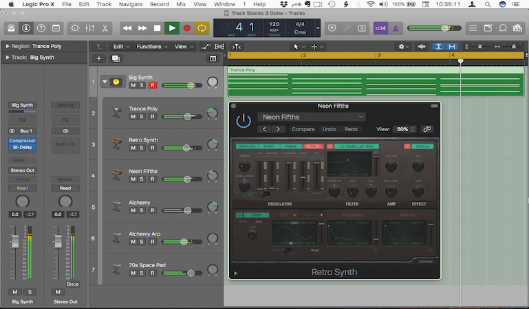 Design sounds with Logic Pro's Track Stacks