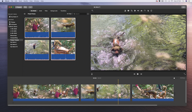 Showcase a moment in iMovie using freeze-frames