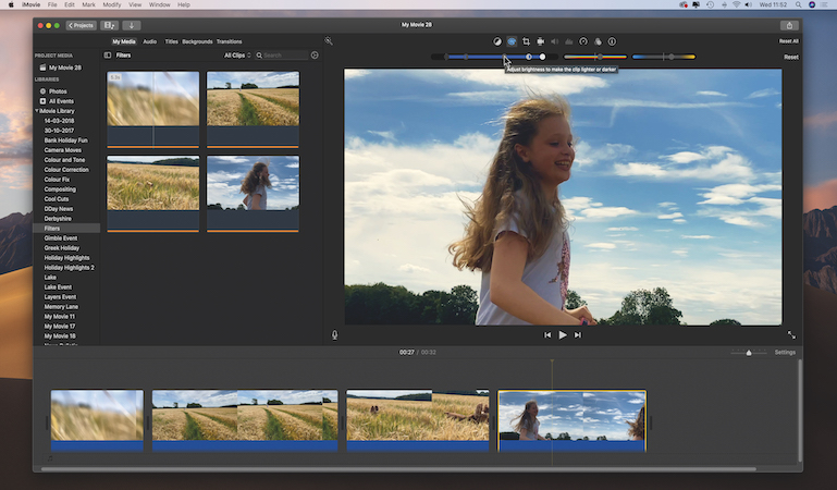 Have fun with filters and grading in iMovie