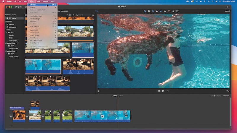 Combine different clips of your pet in iMovie